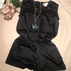 Nice silky material black Small Dressy Romper
